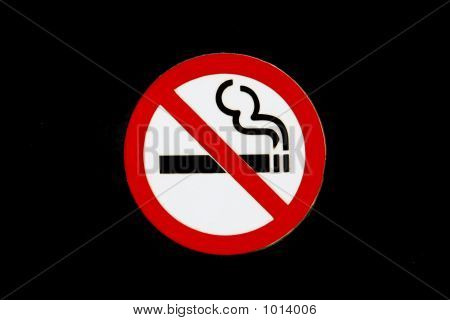 No Smoking Sign, Isolated On Black Background