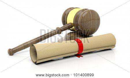 Gavel with scroll, isolated on white background