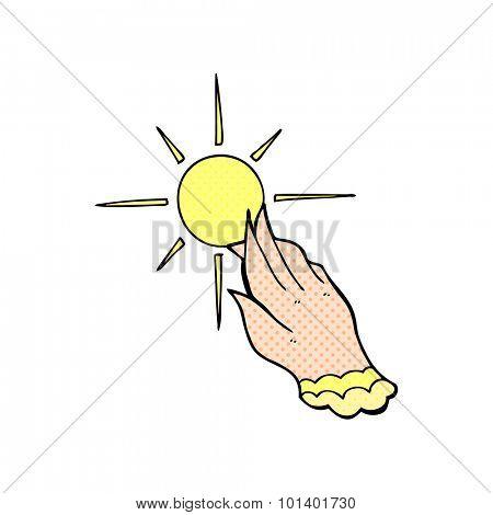 comic book style cartoon hand reaching for sun