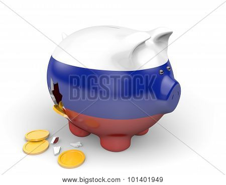 Russia economy and finance concept for GDP and national debt crisis