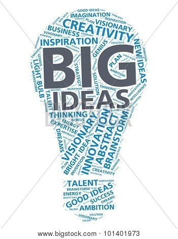 Word cloud for big ideas and innovation in the shape of a light bulb