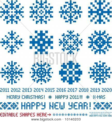Snowflakes in pixel style (Vector). Christmas and New Year greetings 2011-2020