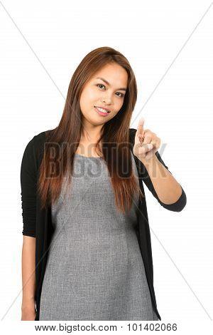 Asian Woman Index Finger Pressing At Camera
