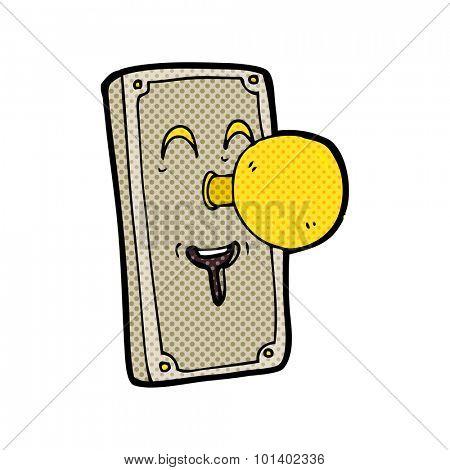 comic book style cartoon door knob