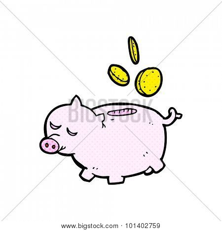 comic book style cartoon piggy bank