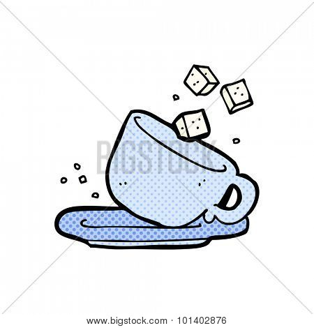 comic book style cartoon sugar lumps and cup