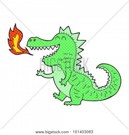 comic book style cartoon fire breathing dragon