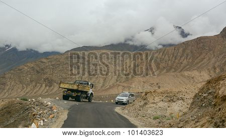 Traffic On The Mountain Road In Ladakh
