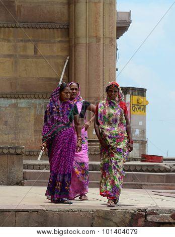 Indian Women On Street Wearing Traditional Sari