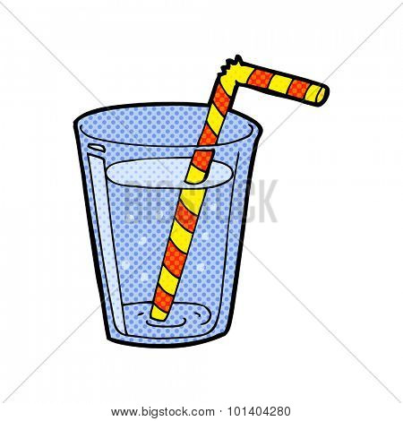 comic book style cartoon glass of water