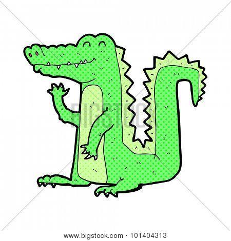 comic book style cartoon crocodile