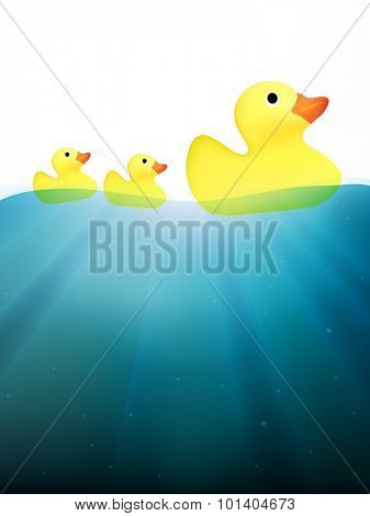 vector ducks swimming on water