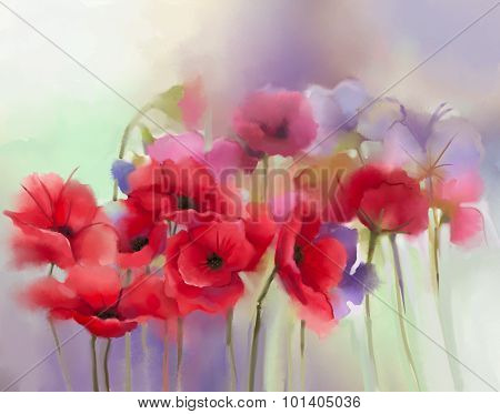 Watercolor Red Poppy Flowers Painting. Flower Paint In Soft Color And Blur Style