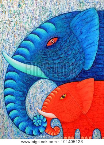Red And Blue Elephant 2