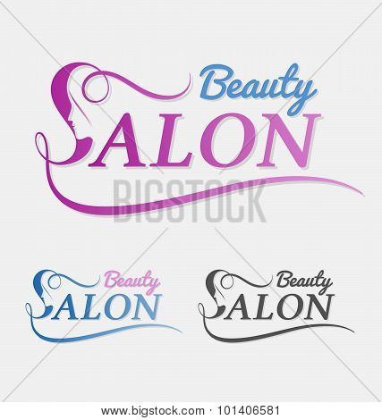beauty salon logo design with female face in negative space on