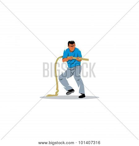 Tug of war. Vector Illustration. Design template Isolated on a white background