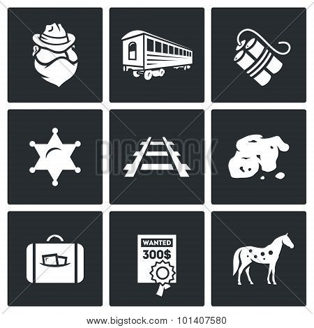 Train robbery in the Wild West icons set. Vector Illustration. Vector Isolated Flat Icons collection on a black background for design