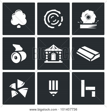 Wood products industry icons set. Vector Illustration. Vector Isolated Flat Icons collection on a black background for design