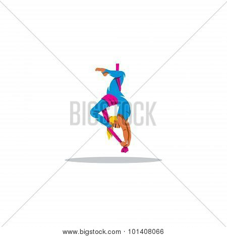 Aerial acrobatics sign. Vector Illustration. Design template Isolated on a white background