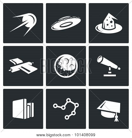 Astronomy, space, science icons set. Vector Illustration. Vector Isolated Flat Icons collection on a black background for design