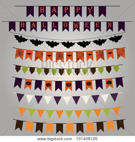 Set Of Flags And Ribbons With A Striking Design For Halloween. Vector