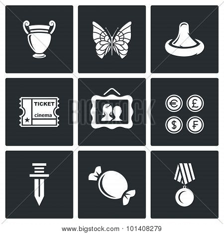 The Hobby Of Collecting Icons Set. Vector Illustration.