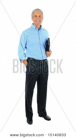Businessman With Hand In Pocket And Notebook