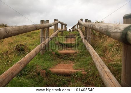 Path of wooden stairs in Sao Miguel Island, Azores, Portugal