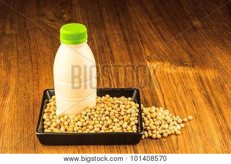 Soybean And A Bottle Of Soybean Milk