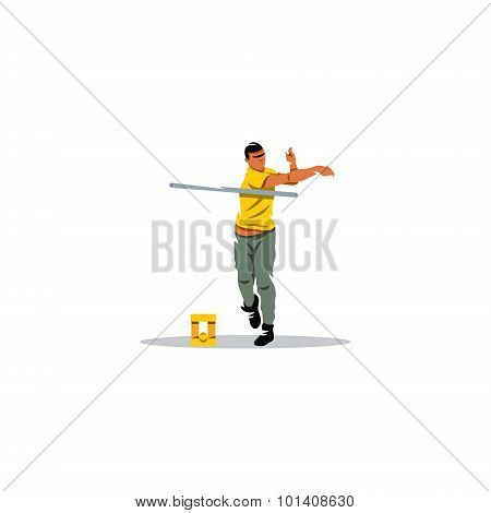 Gorodki Player Sign. Russian Folk Sports Game. Vector Illustration.