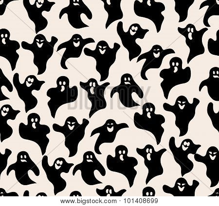 Ghosts Vector Seamless Pattern