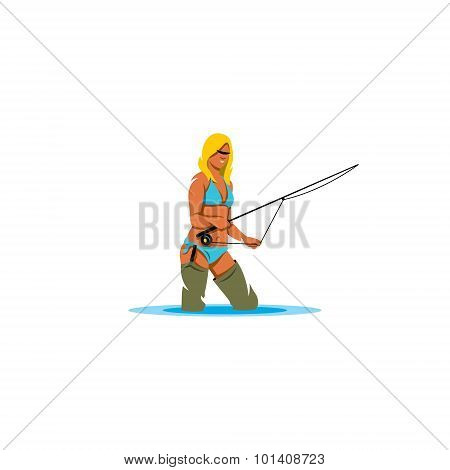 Woman Holding A Fishing Rod Sign. Vector Illustration.