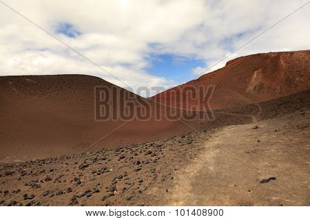 Landscape of volcanic hills on Faial Island, Azores, Portugal