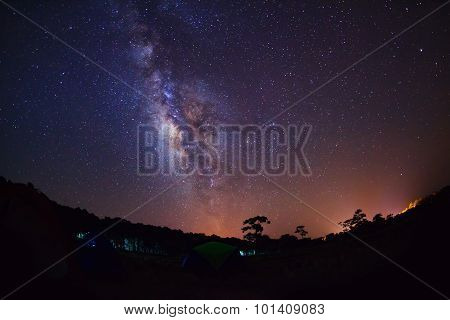 Silhouette of Tree and Milky Way at Phu Hin Rong Kla National Park,Phitsanulok Thailand.