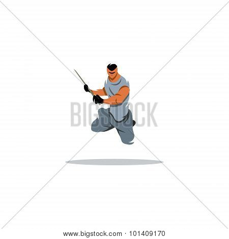 Warrior Jumping With Sword Sign. Vector Illustration.