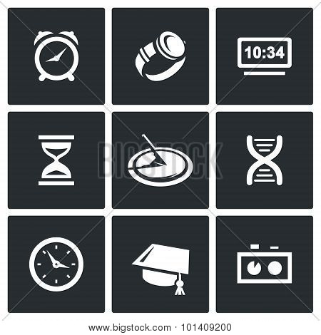 Various Clock And A Method For Determining Time Icons Set. Vector Illustration.