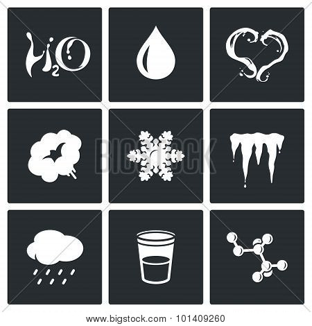 Various Physical State Of Water Icons Set. Vector Illustration.