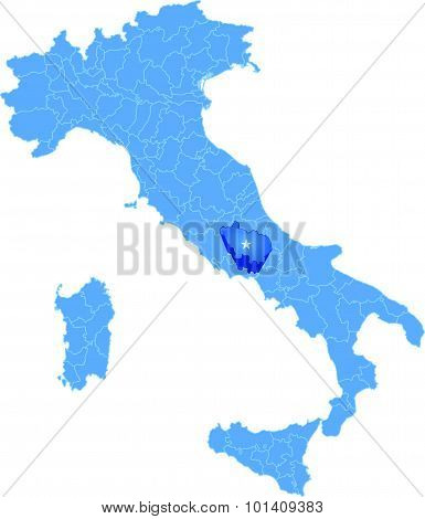 Map Of Italy, Frosinone