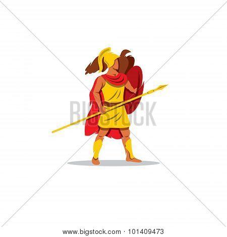 Ares Sign. The Mythological Greek God Of Light, Playing A Lyre. Vector Illustration.