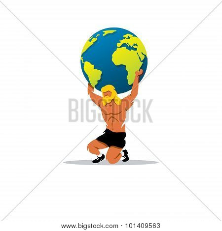 Atlas Sign. In Greek Mythology, The Mighty Titan, Holding On His Shoulders Vault Of Heaven. Vector I