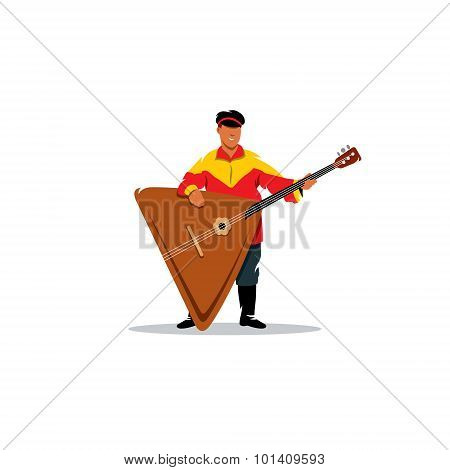 Russian Balalaika And A Man In Traditional Folk Costume. Vector Illustration.
