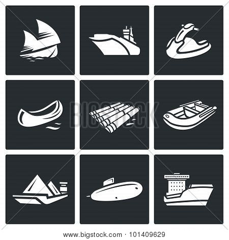 Water Transport Icons Set. Vector Illustration.