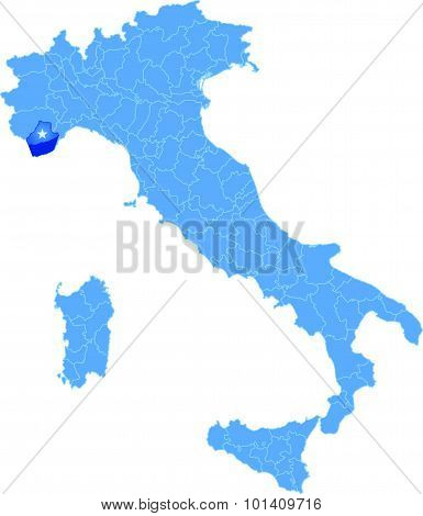 Map Of Italy, Imperia