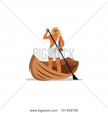 Charon Sign. In Greek Mythology, Carrier Souls Of The Dead Across River Styx To Hades. Vector Illust