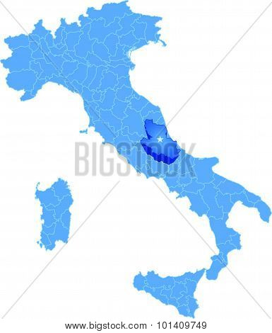 Map Of Italy, Laquila