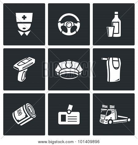 Drunken driving icons set. Vector Illustration. Isolated Flat Icons collection on a black background for design