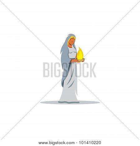 Hestia Sign. Mythological Greek Goddess Of The Hearth, Sacrificial Fire. Vector Illustration.