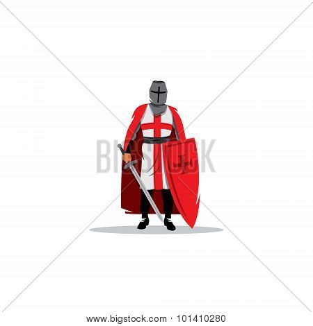 Knight Sign. Crusader Helmet With Sword And Shield. Vector Illustration.
