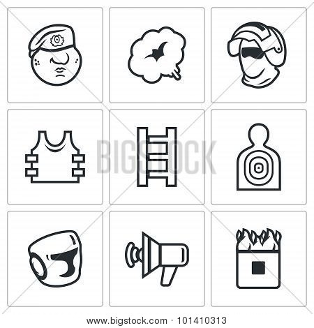 Russian Special Forces Icons Set. Vector Illustration.