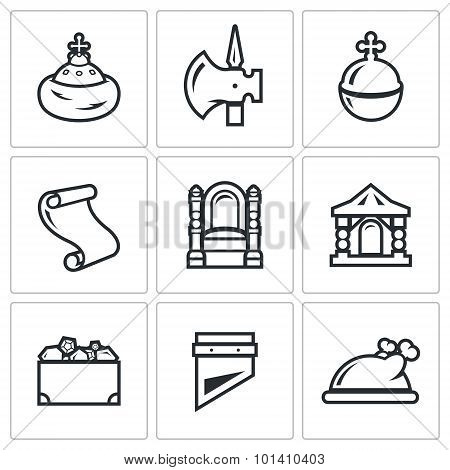 Russian Moscow Ancient State And The Principality Icons Set. Vector Illustration.